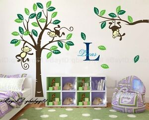 Cheeky-Monkey-on-Large-Tree-Vinyl-Wall-Decals-Art-Stickers-Kids-Nursery-Decor