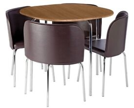 Brown Space saver dining table and 4 chairs RRP£150
