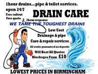 Blocked Toilets £10 *1 Hour Drain & Pipe Unblocking Services. Free Callout Free Quote. No Deposits