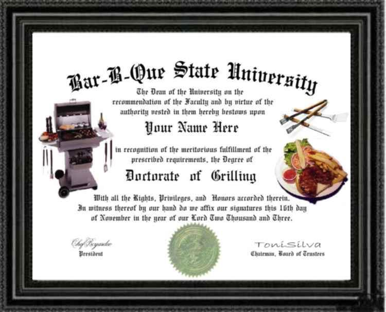 BBQ Master Doctorate Diploma / Degree Custom made and Designed for YOU