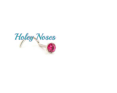 18ct White Gold 2mm Ruby Nose stud ring pin bone best quality Body