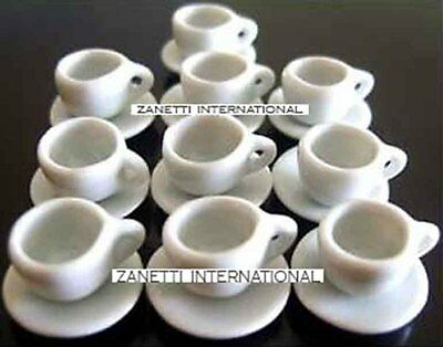 20-Piece Dollhouse Miniature White Ceramic Cups & Saucers Set *Dishes Plates Cup