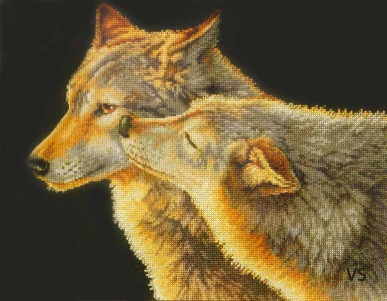Dimensions Counted Cross Stitch Kit 14 X 11 Wolf Kiss 70-35283 Sale