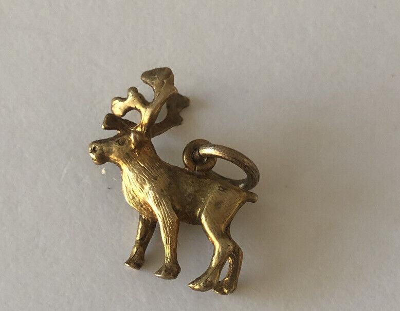 Vintage 10k Gold 3D Reindeer One Of A Kind Charm 4Bracelet Pendant 2.4Gr