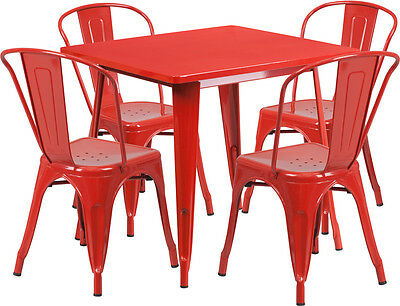 31.5 Industrial Red Metal Indoor-outdoor Restaurant Table Set W4 Chairs