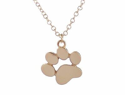 - PAW Pendant NECKLACE Pet Dog Charm Cat Animal Tiny Gold Jewelry Gift
