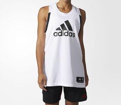adidas Women's Basketball Jersey White CE9404 Size Large