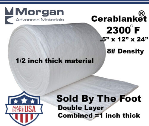"Ceramic Fiber Insulation Blanket Wool High 2400F Double Layer 1""x12""x24"" #8"