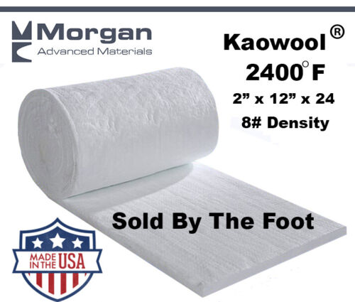 "Kaowool 2""x12""x 24"" Ceramic Fiber Insulation Blanket 8# Thermal Ceramics 2400F"