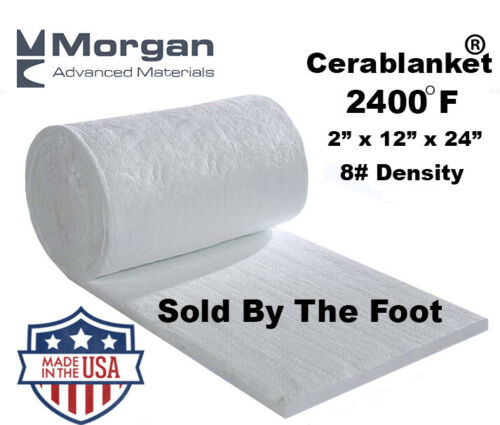 """Cerablanket 2""""x12""""x24"""" Ceramic Fiber Insulation Blanket 8# - 2300F"""
