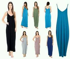 Women's strappy lagenlook Baggy Maxi Dress