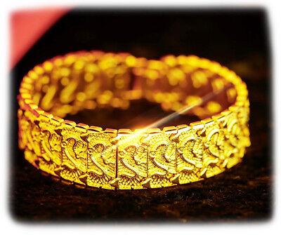 18k Yellow Gold Mens Womens Dragon Link Chain Bracelet 7.5
