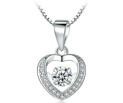 Sterling Silver Halo Floating Dancing Zirconia Stone Heart Pendant Necklace A7 Floating Heart Necklace