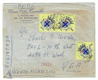 Sa Da Bandeira, Lubango Angola, Portuguese Colonies Registry Airmail Seattle WA