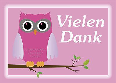 2 Postkarten Eule pink Vielen Dank bedanken Grußkarte Karte owl  Kinder danke