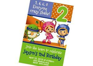 Custom Personalized Team Umizoomi Birthday Invitation 24hr Service UPRINT