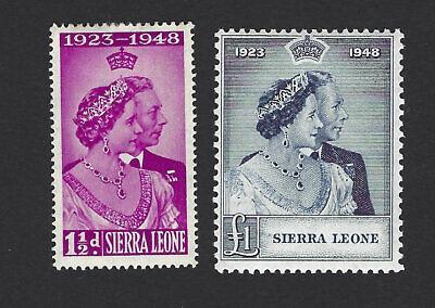 SIERRA LEONE 1948 GEORGE VI ROYAL SILVER WEDDING SET OF 2 STAMPS, SG.203-204, MH