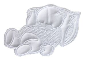 Sleeping Teddy Bear ♥ Cute Sew On Satin Applique Motif ♥ Pink Blue or White