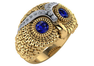 0.8 ct natural blue sapphire F VS diamond owl fashion ring 14k yellow gold 18gr