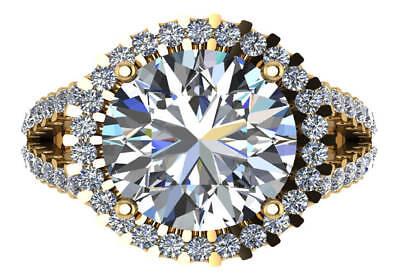 11.5 round GIA N VS2 round natural diamond halo engagement ring 18k yellow gold