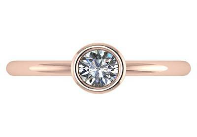 0.30 ct GIA certified D VVS2 round triple excellent diamond ring 18k rose gold