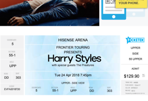 Harry Styles Melbourne (Hisense Arena) B-Reserve Ticket Acton North Canberra Preview