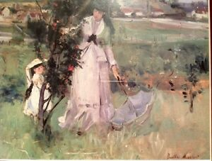 Picture by Berttie Morisot of a lady and child in a field
