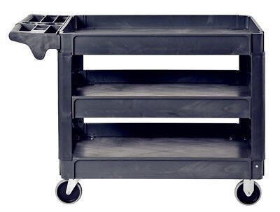 Pake Handling Tools - Plastic 3 Shelves Utility Cart 550lbs Capacity 37 X 25
