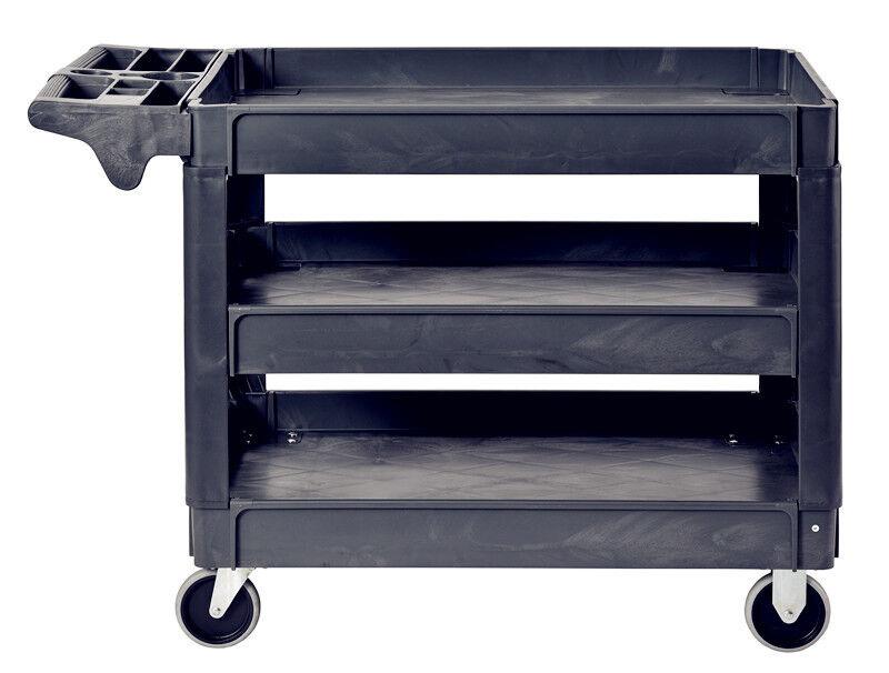Pake Handling Tools - Plastic 3 Shelves Utility Cart, 550lbs Capacity, 37 x 25