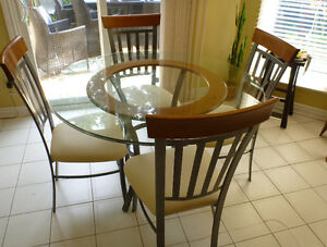 Glass table with chairs set