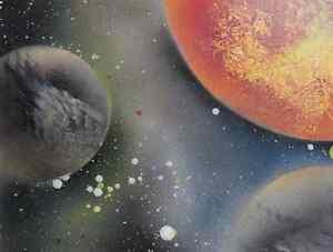 New Sun #4 ORIGINAL SPRAY PAINT SPACE ART