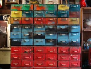 Vintage Metal Drawers Storage Workshop Industrial Look Red Blue
