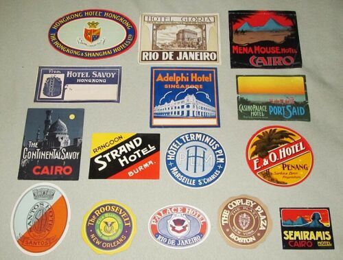 15 Vintage HOTEL LUGGAGE LABEL LOT 1920s 1930s Asia US Brazil Egypt Rio France