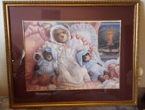 Beautiful framed Bear picture for a baby's room
