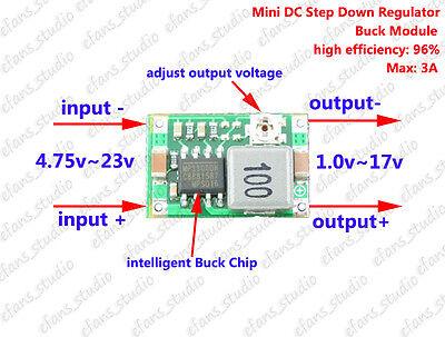3a Mini Dc-dc Buck Step Down Converter Volt Regulator 5v-23v To 3.3v 6v 9v 12v
