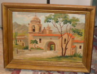 "Vintage Pair of Spanish Mission Paintings 12"" X 16"" Framed"