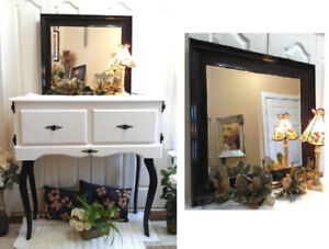 Classy in Black! Scoop Frame Rectangular  Mirror
