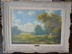 LARGE VINTAGE OIL ON CANVAS PAINTING 36 x 27 inches EXCELLENT