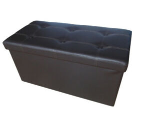 Like New Faux Leather Foldable Ottoman Storage Bench