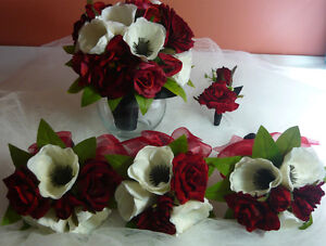 So Pretty Red, Black & White Wedding Bouquet Flower Package. London Ontario image 1