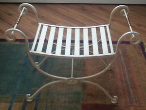 Vintage Wrought Iron Scroll Ends Curved Seat Bench