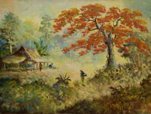 Vibrant large original oil from Indonesia