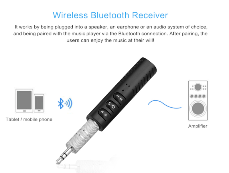 Mini Wireless Bluetooth Car Kit 3.5mm Dongle Jack Aux Audio Receiver Adapter KZ