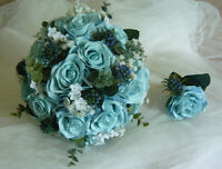 Beautiful Light Blue Wedding Bouquet Flower Set.