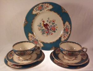 Myott Old Bow Pheasant Teal cups & saucers with matching plates