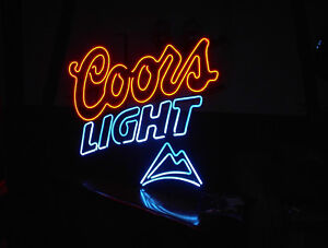 COORS LITE NEON 2 COLOR SIGN MAN CAVE REC ROOM 31H X35W $160