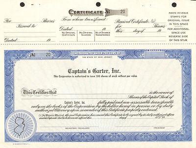 CAPTAIN'S GARTER stock certificate BRUCE SPRINGSTEEN