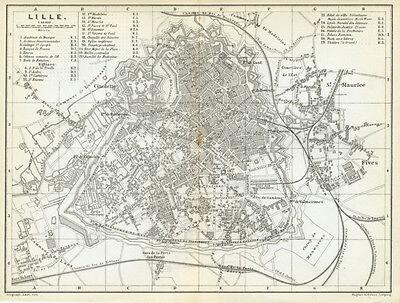 LILLE 1885: Baedeker Town Plan - Belgium old map