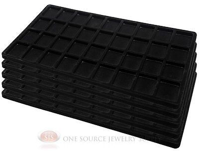 5 Black Insert Tray Liners W 36 Compartments Drawer Organizer Jewelry Displays
