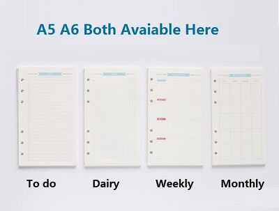 A5 A6 Weekly Planner Refillable Pages For Binder Monthly Dairy Notebook Refill